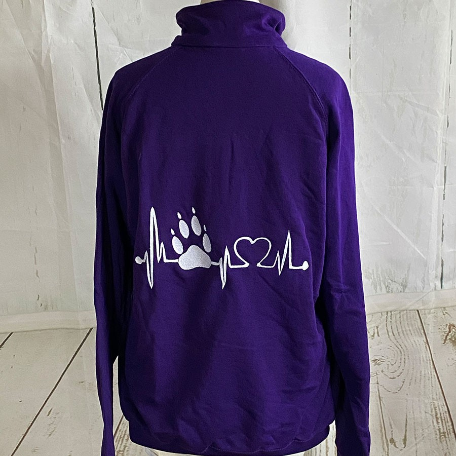FoL Zip-Sweat lila Gr. XL Herzkurve