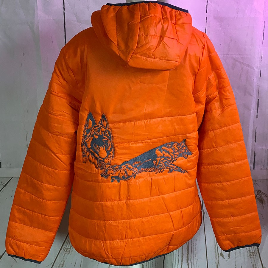 DAMEN Jacke Gr. 40 Arcadia orange LanghaarSH Collage