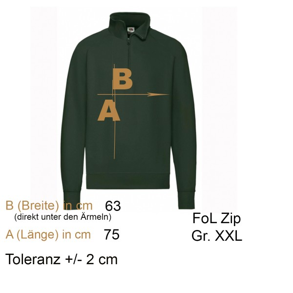 Zip-Sweat Gr. XXL dunkelgrün