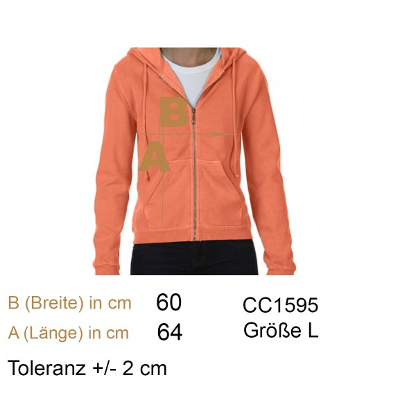 Ladies' Full Zip Hooded Sweatjacke Gr. L melone