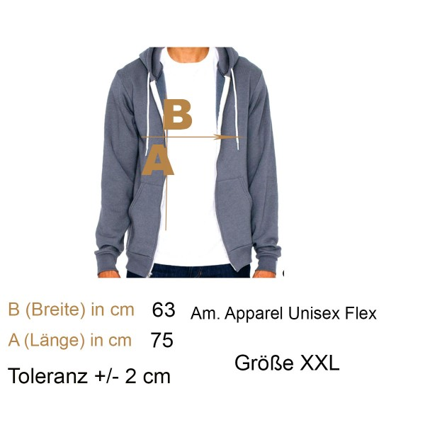 Am. Apparel Kapuzenjacke Sweat Grau Gr. XXL